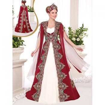Apolet İşlemeli Tül Kol Bindallı Elbise
