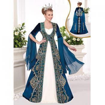 Dal İşleme Tüm Boncuk Kadife Bindallı Elbise